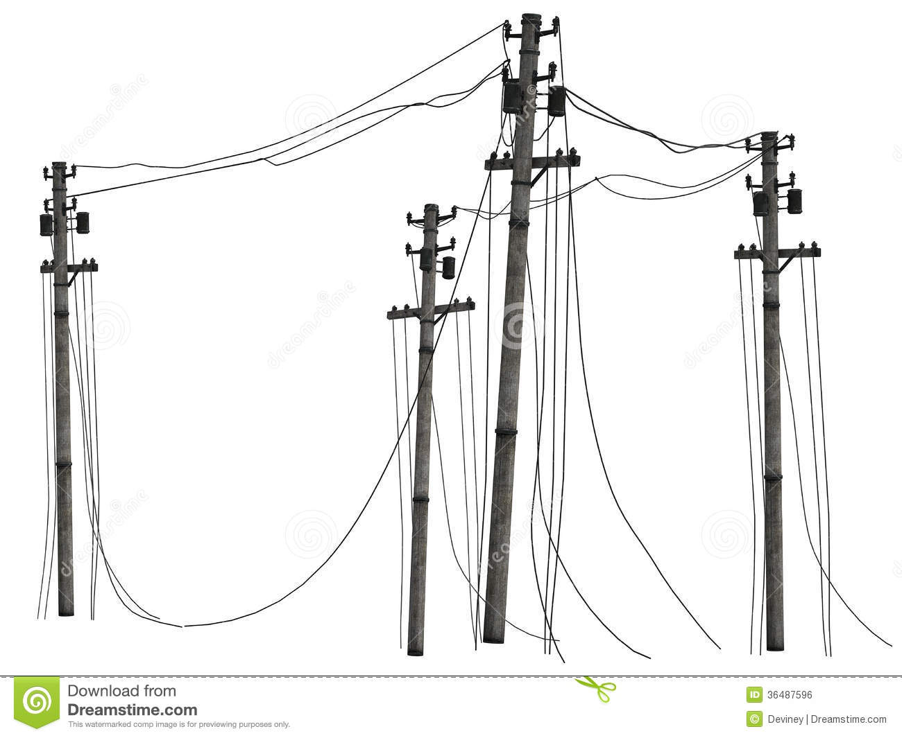 Group Of Telephone Poles Royalty Free Stock Image