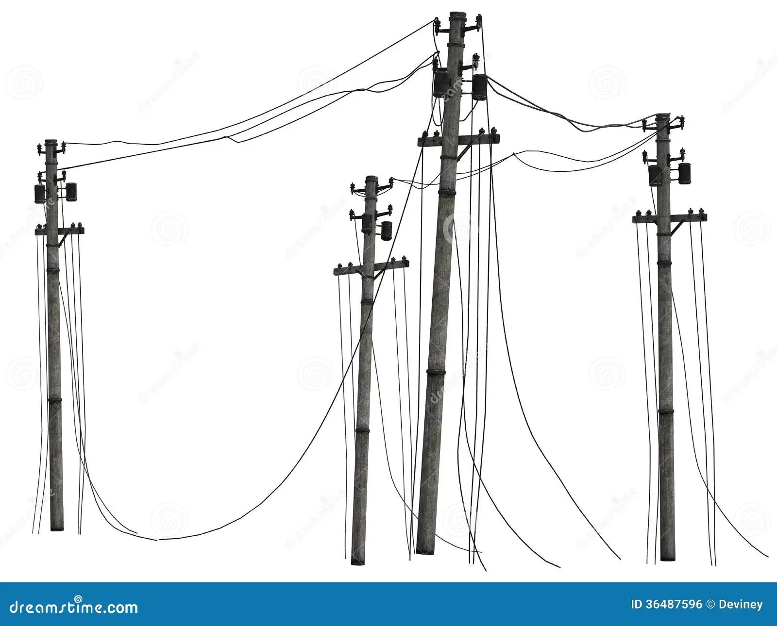 Group Of Telephone Poles Stock Illustration Image Of
