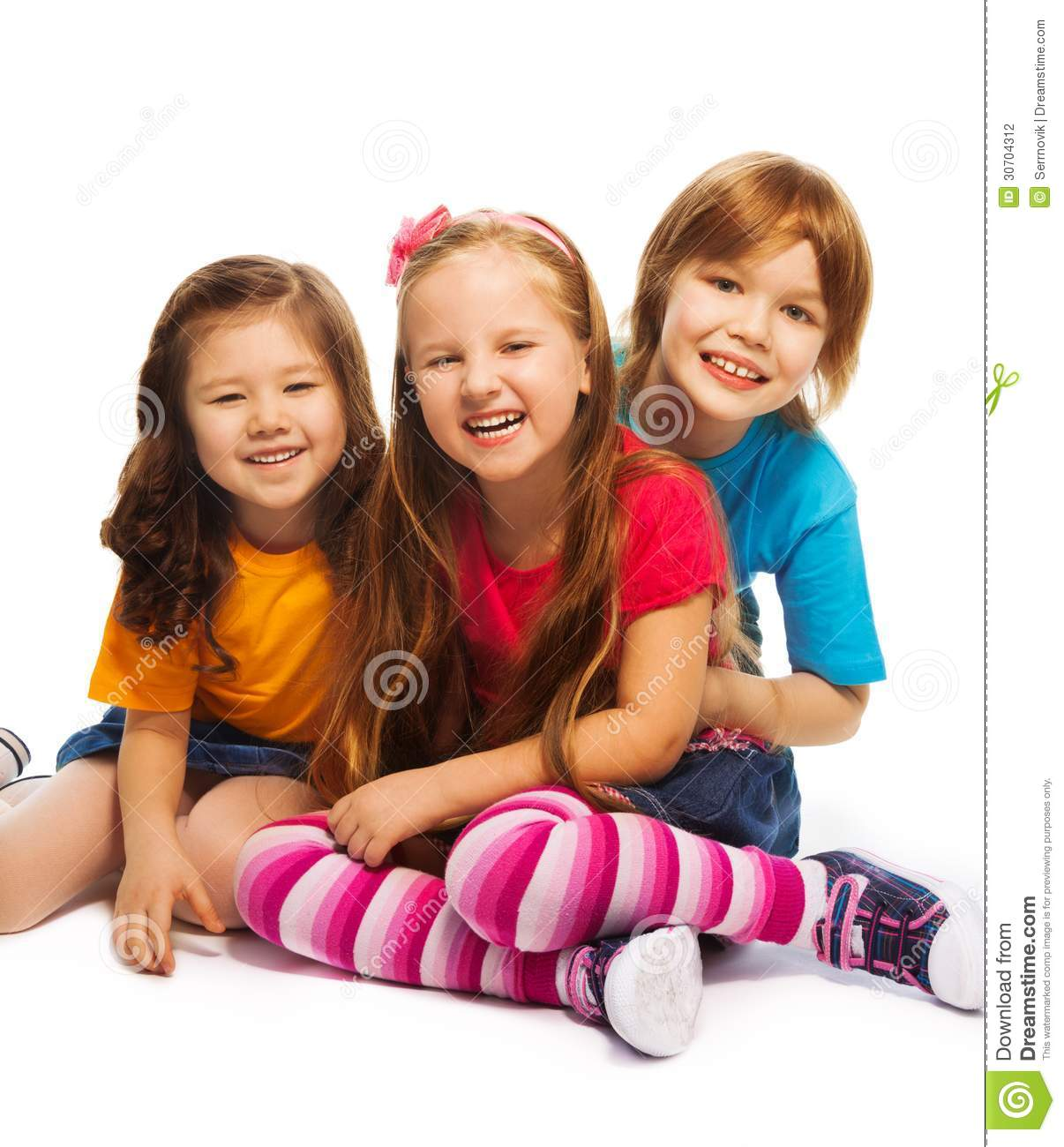 Group Of Three 7 Years Old Kids Stock Photo