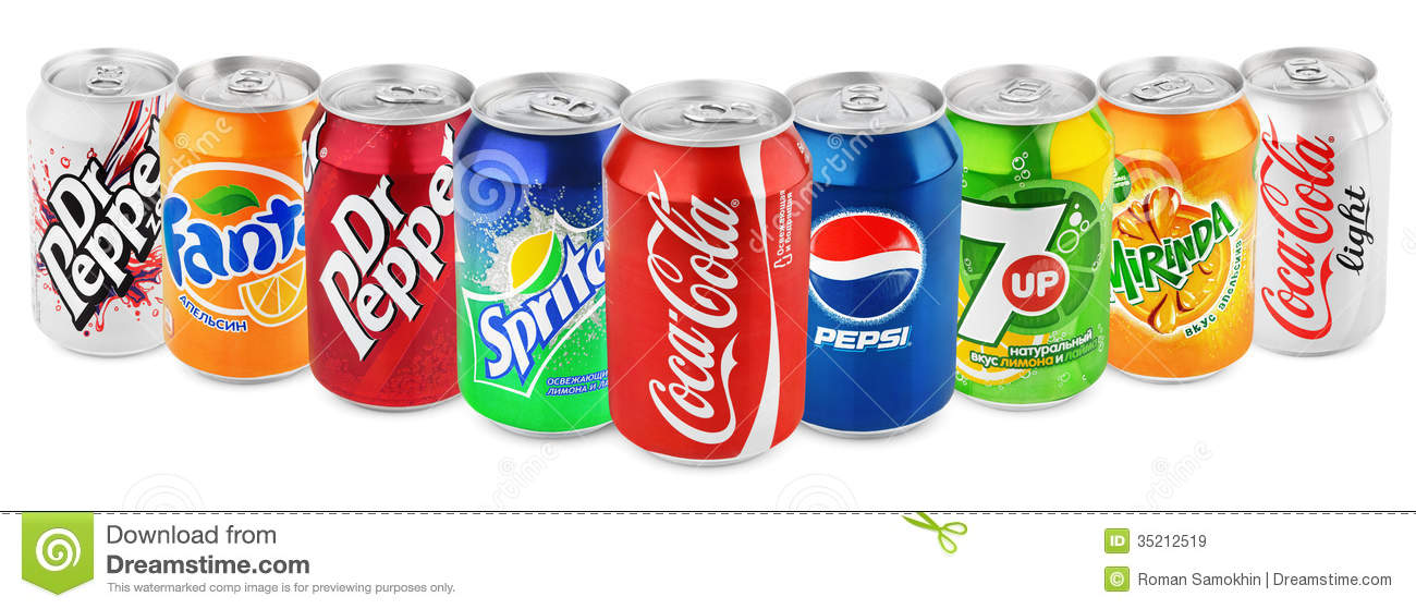 Group Of Various Soda Drinks In Aluminum Cans Isolated On