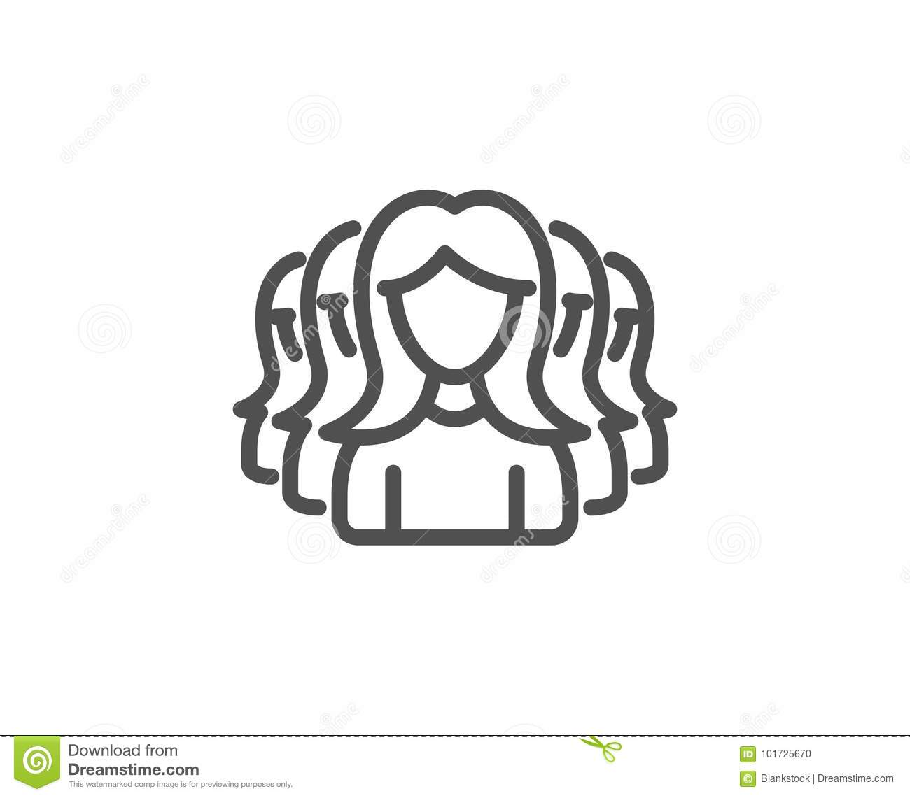 Group Of Women Line Icon Teamwork Sign Stock Vector