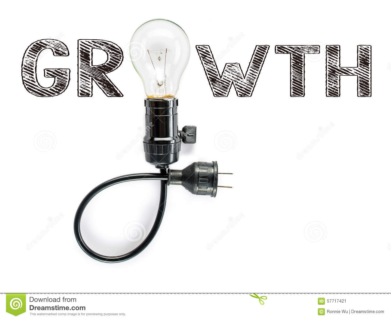 Growth Phrase And Light Bulb Hand Writing Aggressive