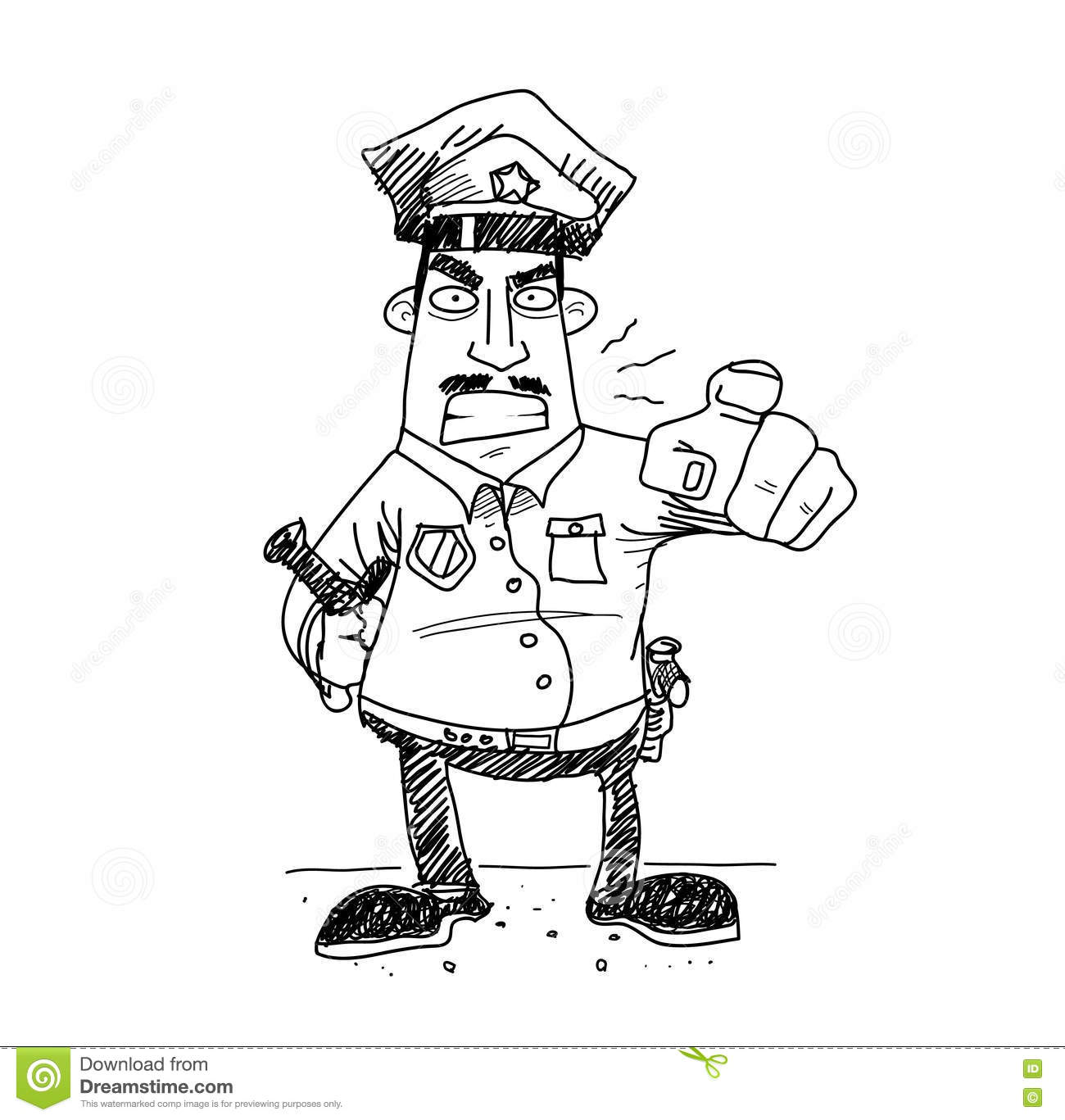 Grumpy Cop Police Cartoon Vector