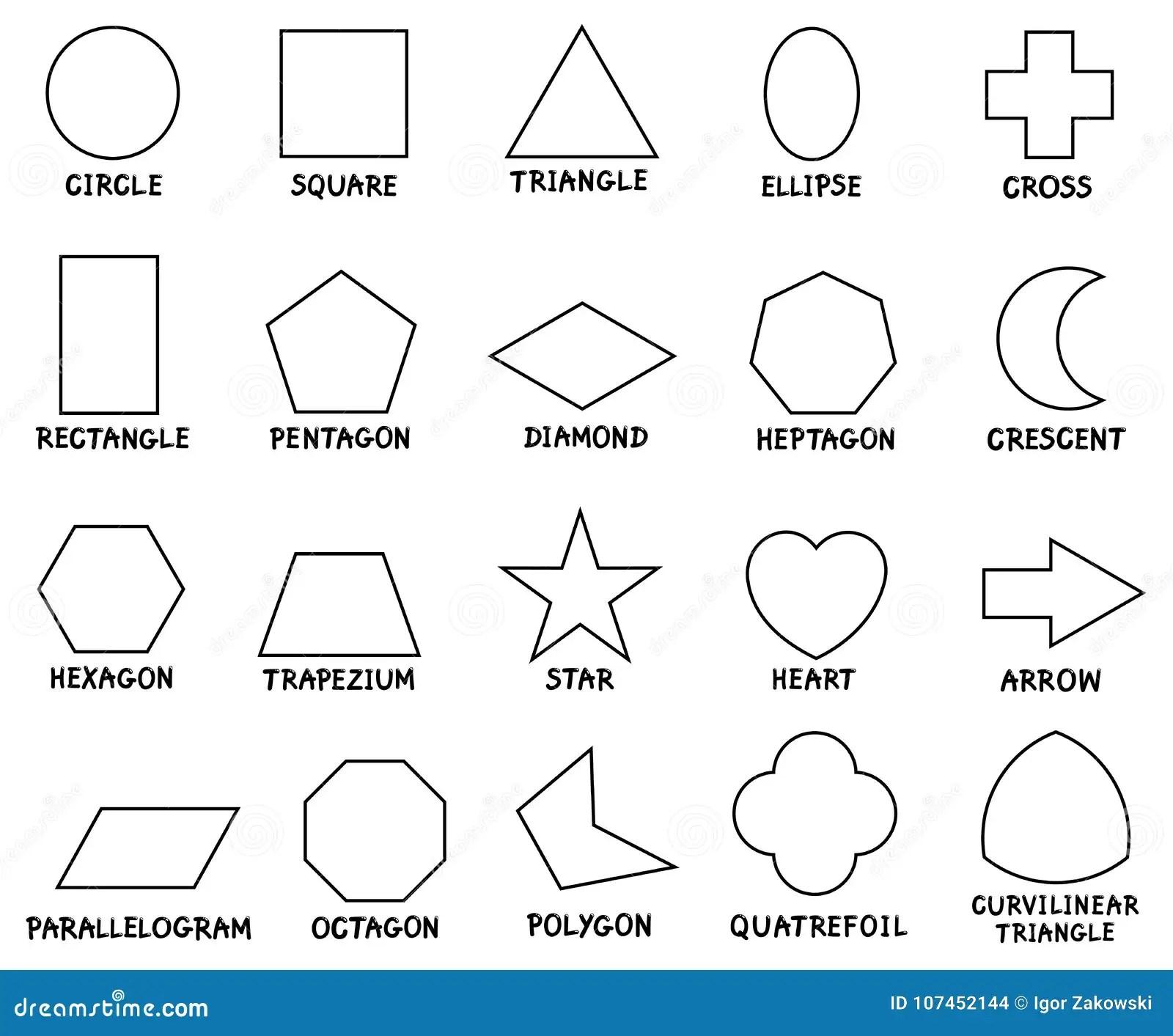 Grundlaggande Geometriska Former For Utbildning Med