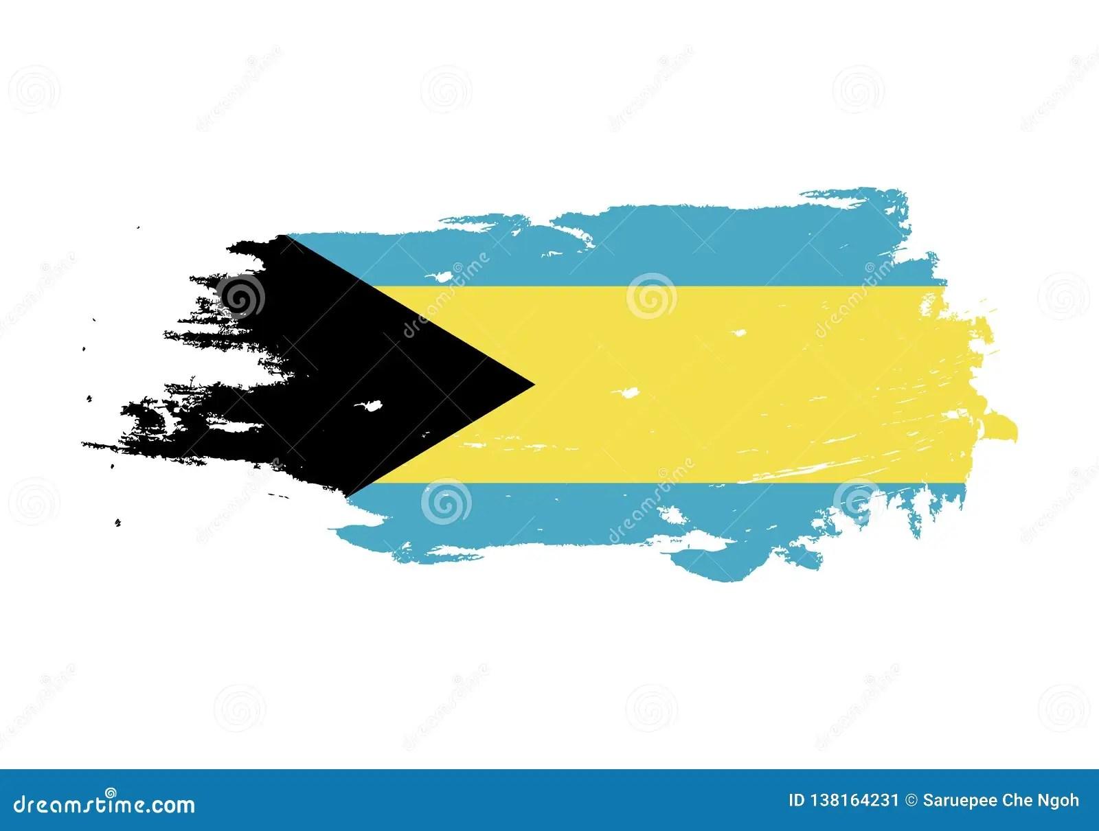 Grunge Brush Stroke With Bahamas National Flag Watercolor