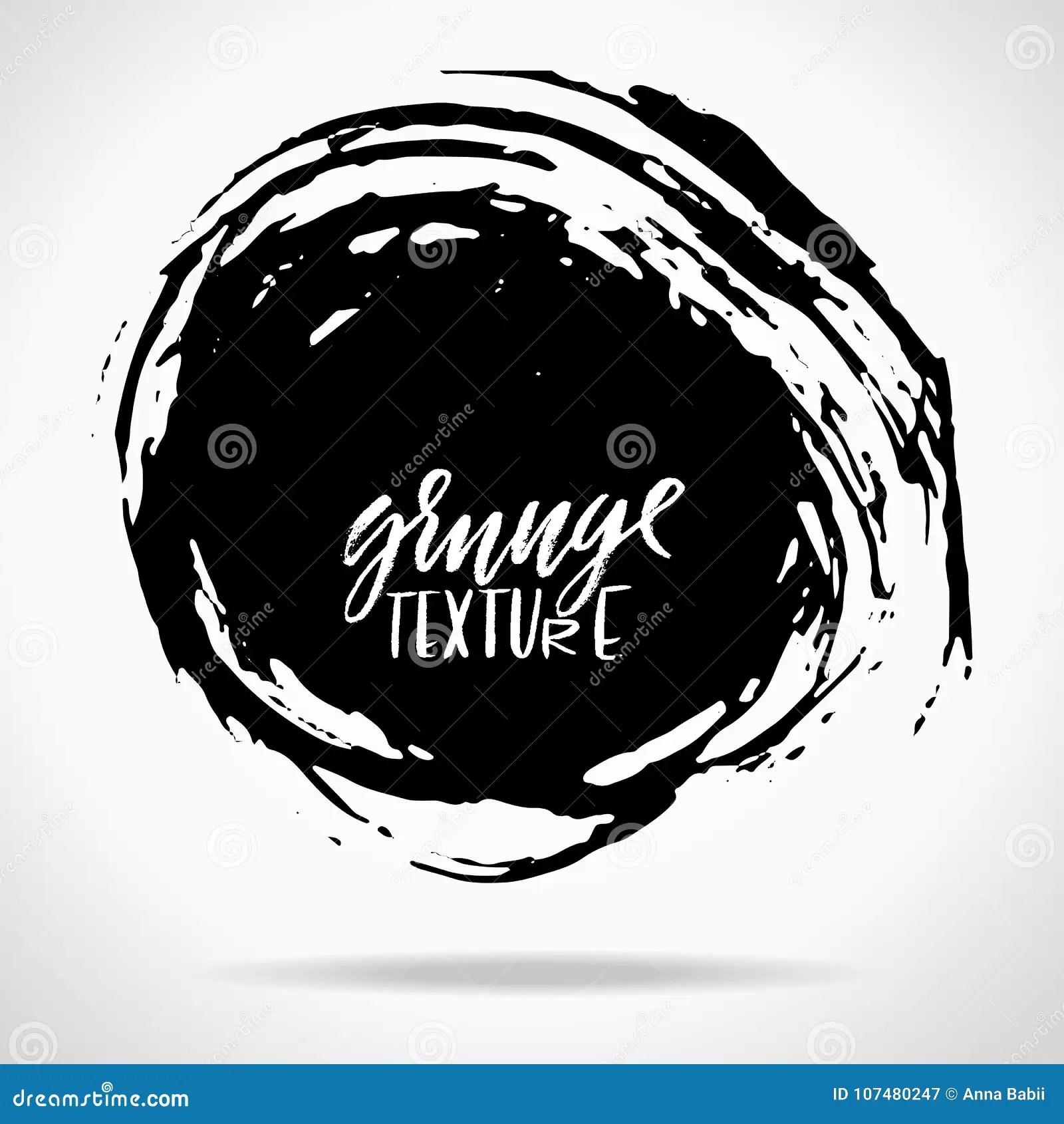 Grunge Ink Round Brush Strokes Freehand Black Brushes
