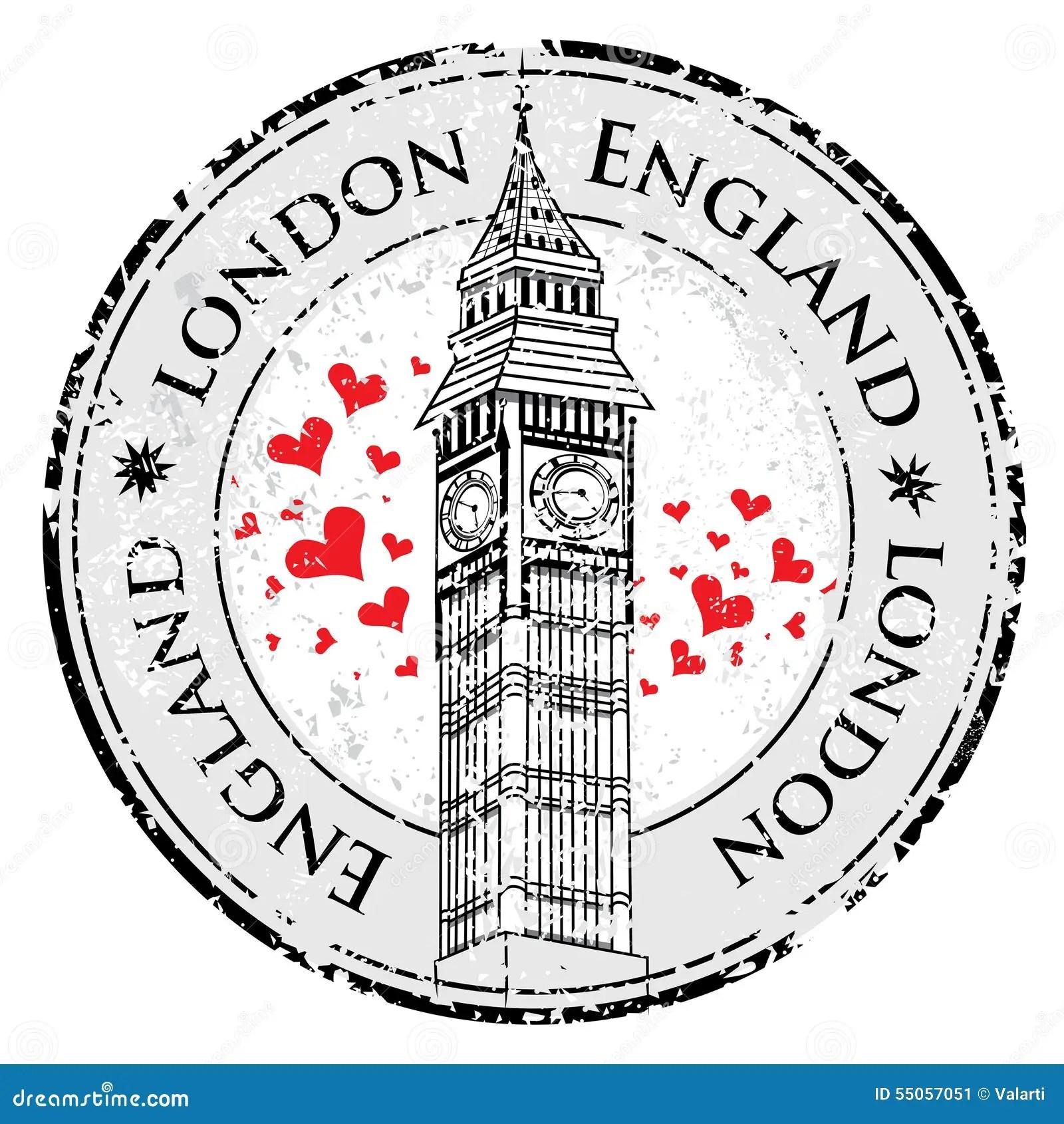 Grunge Love Heart Stamp London Great Britain Big Ben