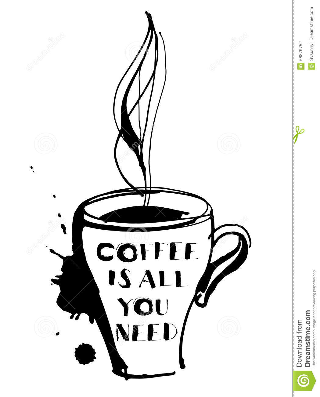 Grungy Hand Drawn Ink Cup With Steam Roasted Beans And