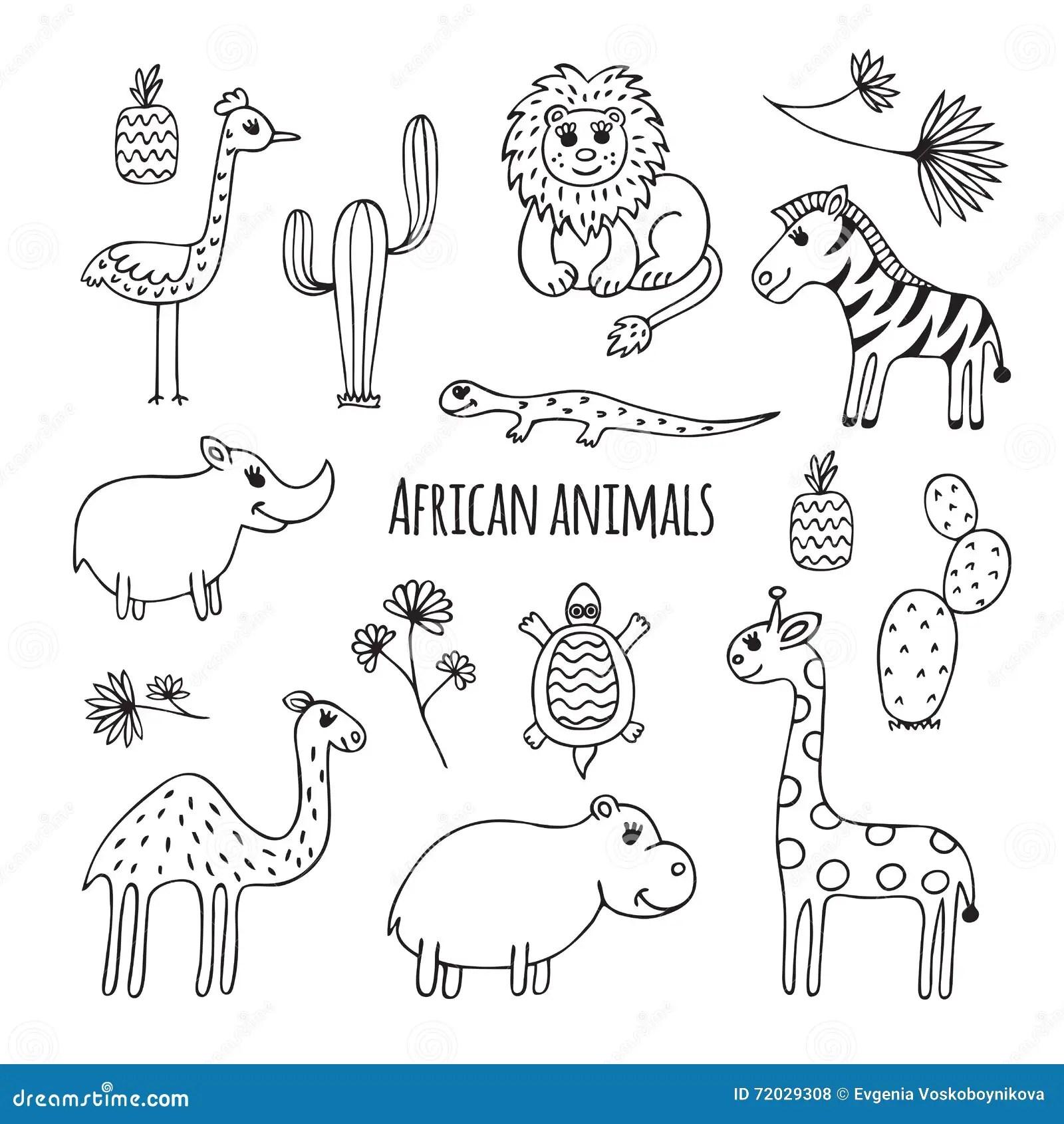 Grupo De Animais Africanos Preto E Branco Ilustracao Do