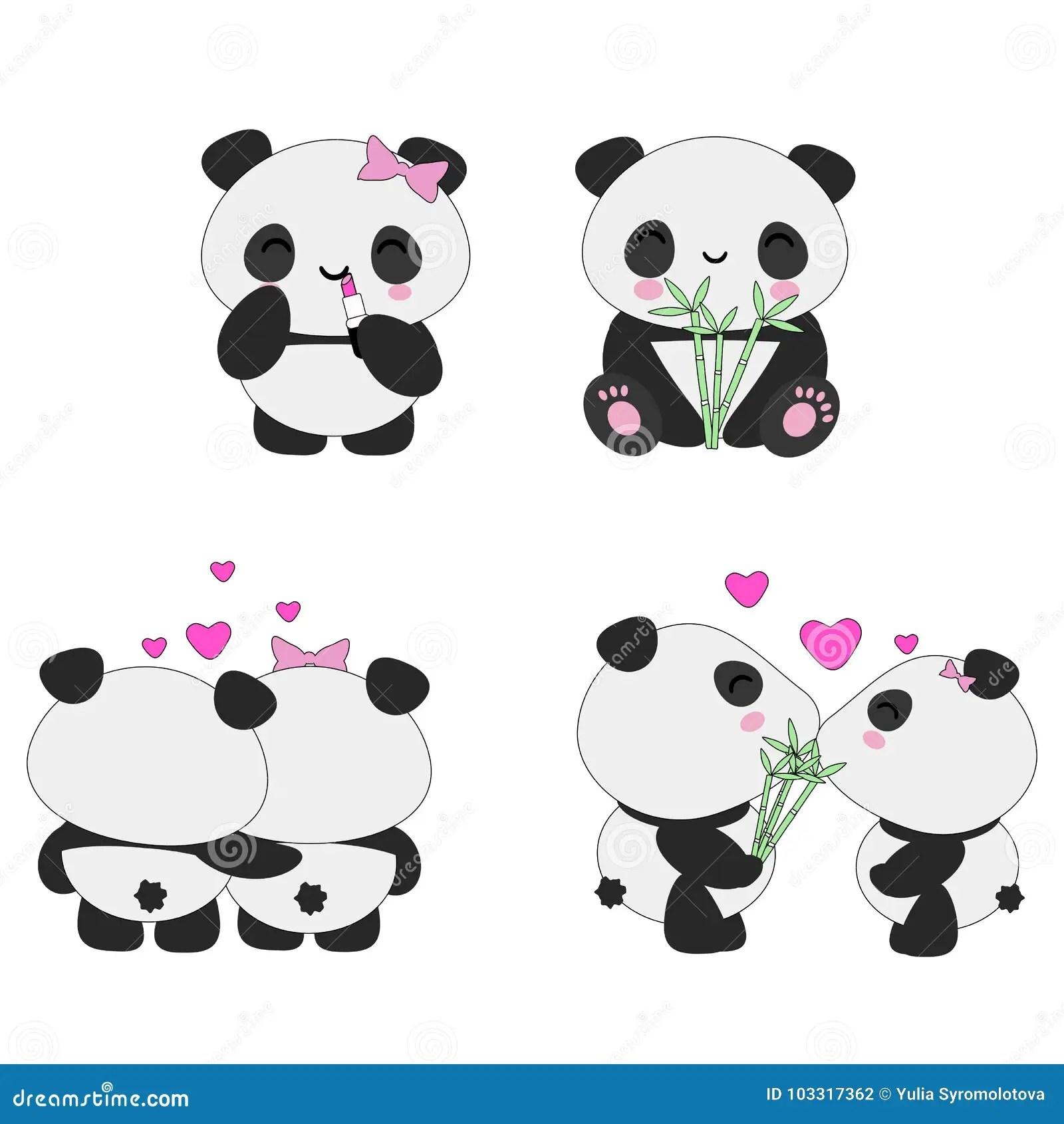 Grupo Do Amor Das Pandas De Kawaii Ilustracao Stock