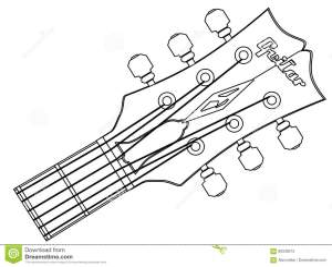 Guitar Headstock Outline stock vector Illustration of