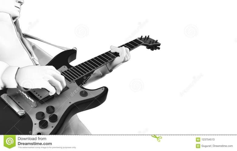 guitar play musical instruments drawing 02 stock illustration