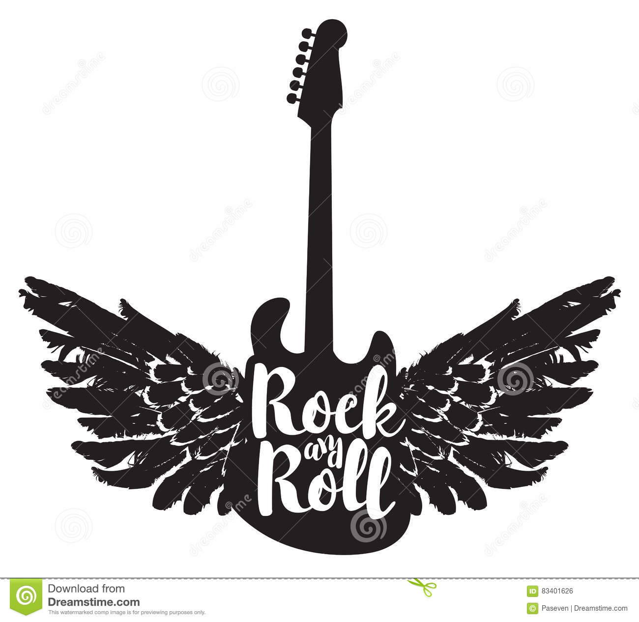 Guitar And The Words Rock And Roll Stock Vector