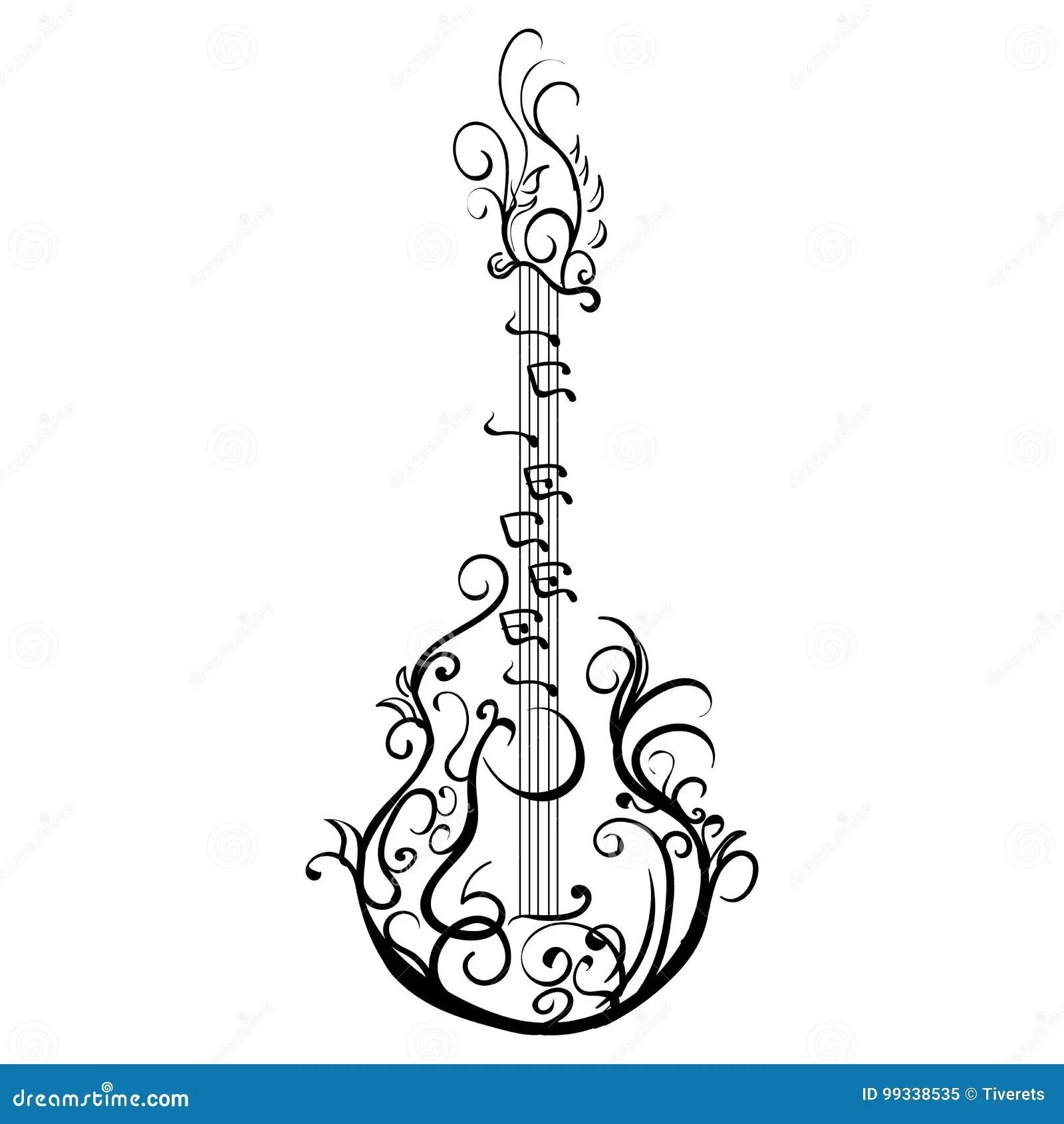 Guitare Classique Stylisee Retro Tatouage De Guitare