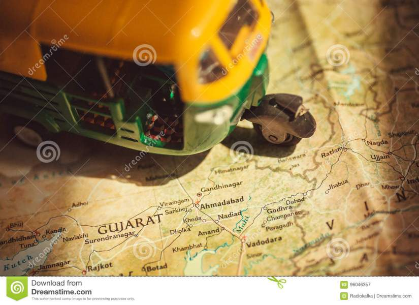Gujarat On India Roads Map With Driving Toy Model Of Auto rickshaw     Download Gujarat On India Roads Map With Driving Toy Model Of Auto rickshaw  Vehicle Stock
