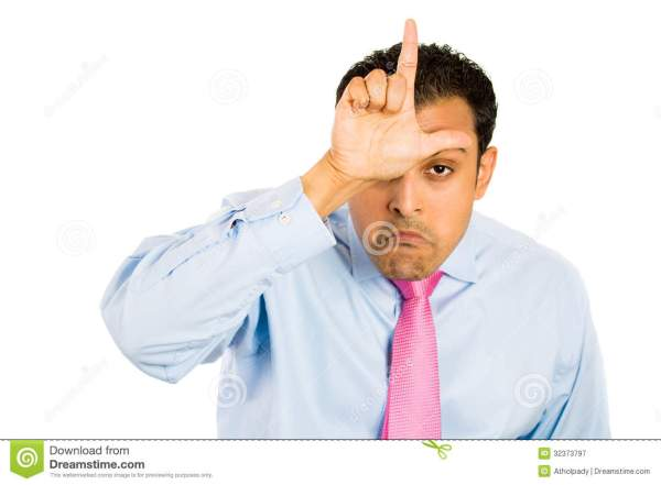 Guy With Loser Sign On Forehead Stock Image - Image of ...