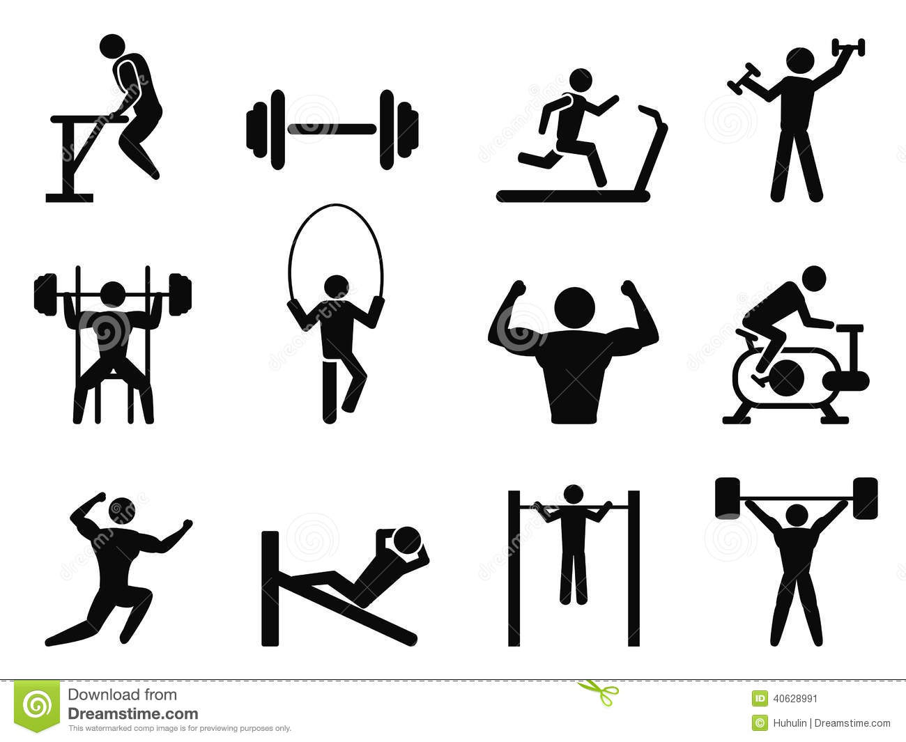 Gymnasium And Body Building Icons Stock Vector