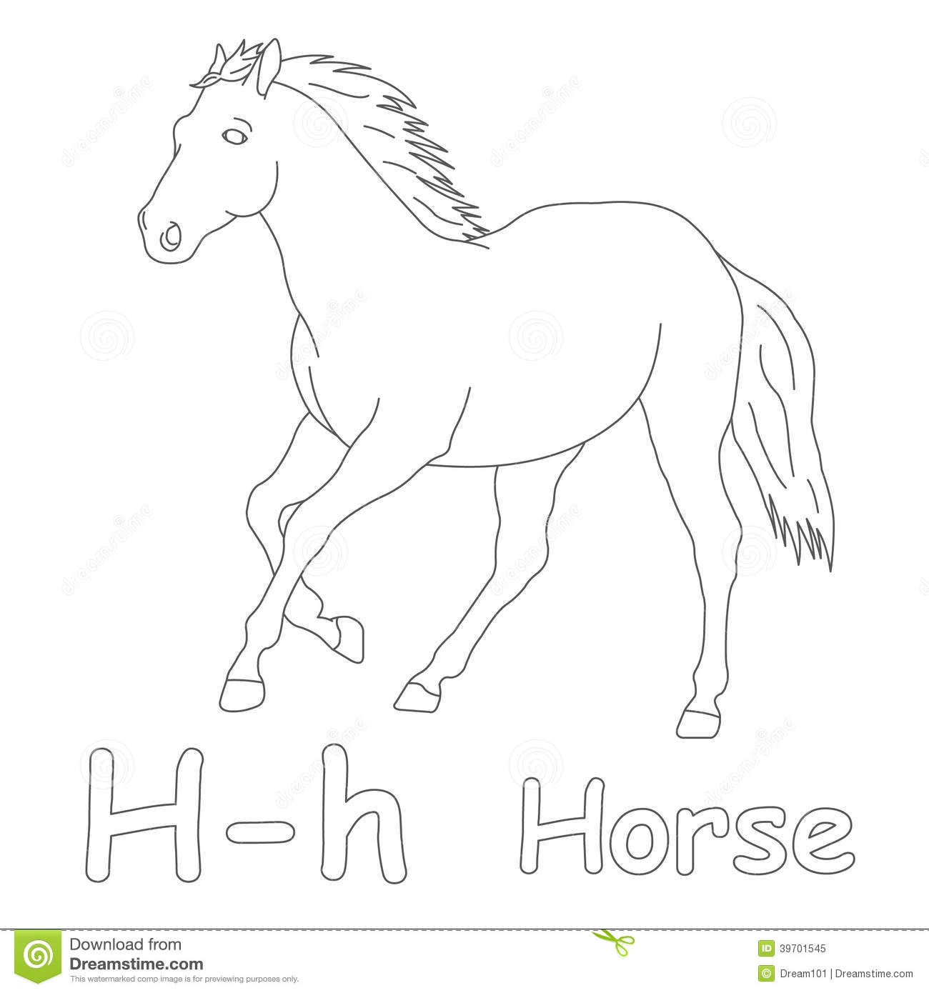 H For Horse Coloring Page Stock Illustration