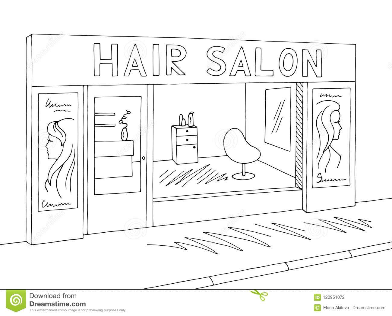 Hair Salon Exterior Graphic Black White Sketch