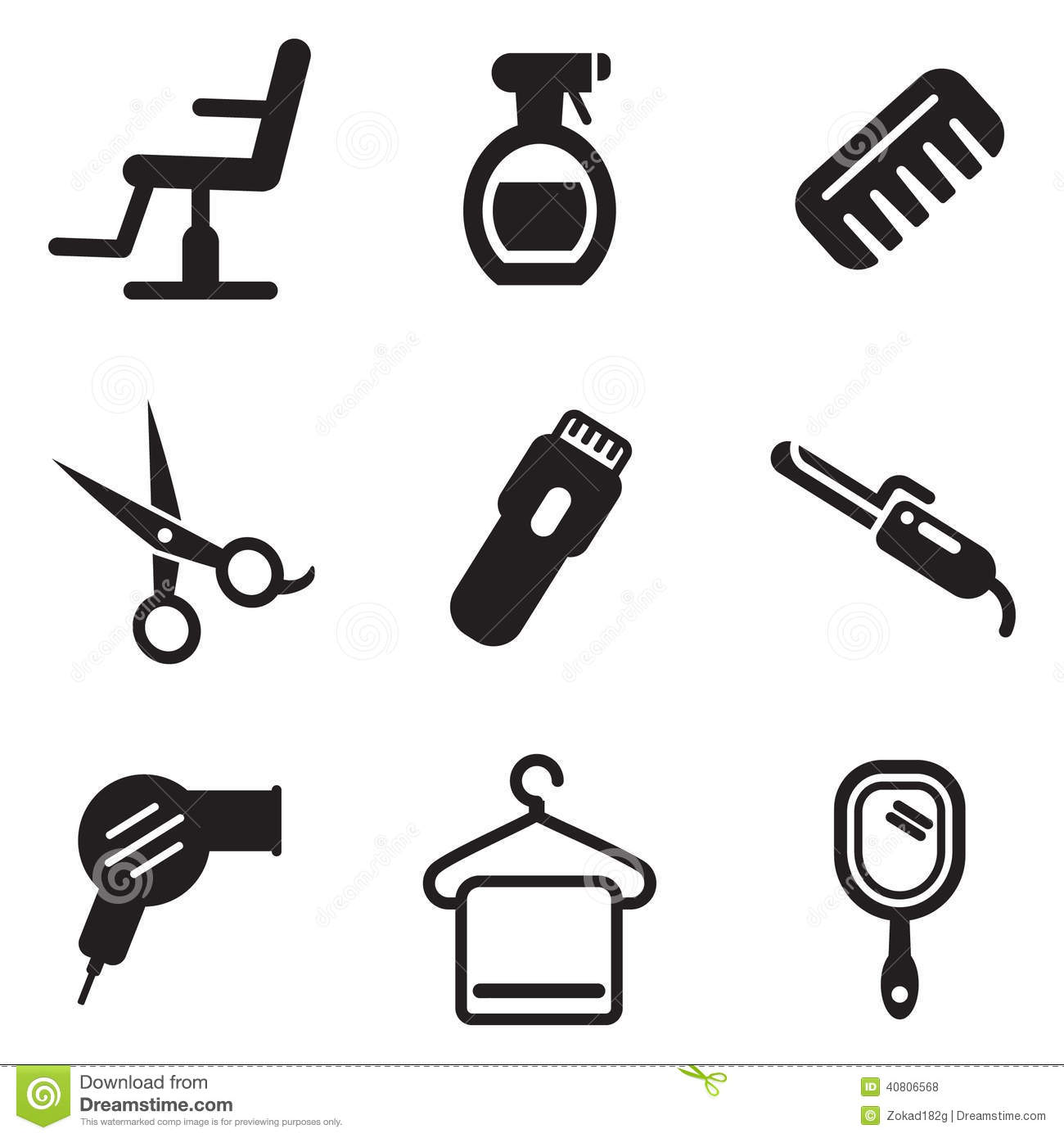 Hair Salon Icons Stock Vector Illustration Of Brush