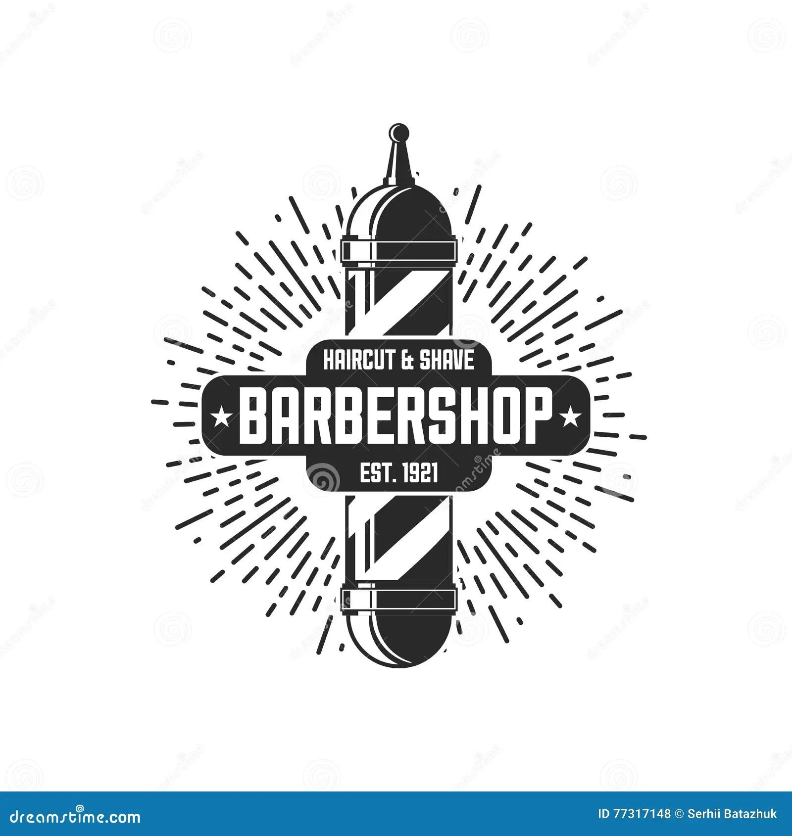 Vector Vintage Badge Sticker Sign With Barber Shop Pole