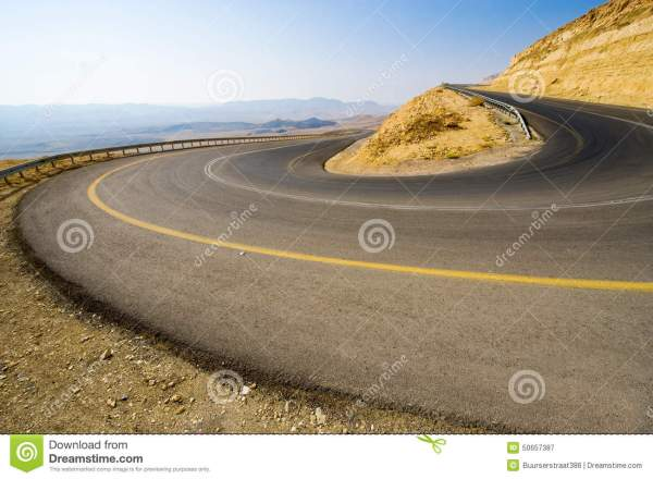 Hairpin bend in desert stock image. Image of mountain ...