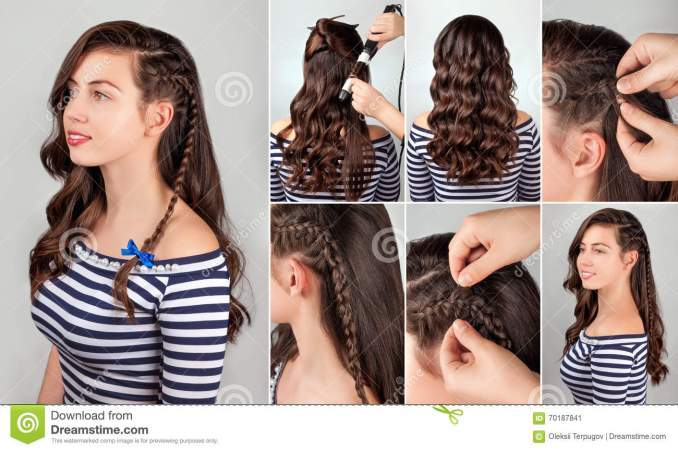 hairstyle for long hair tutorial stock image - image of