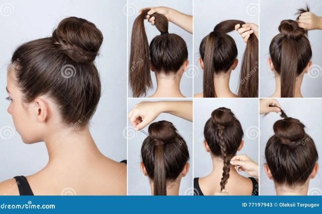 hairstyle tutorial elegant bun with braid stock image
