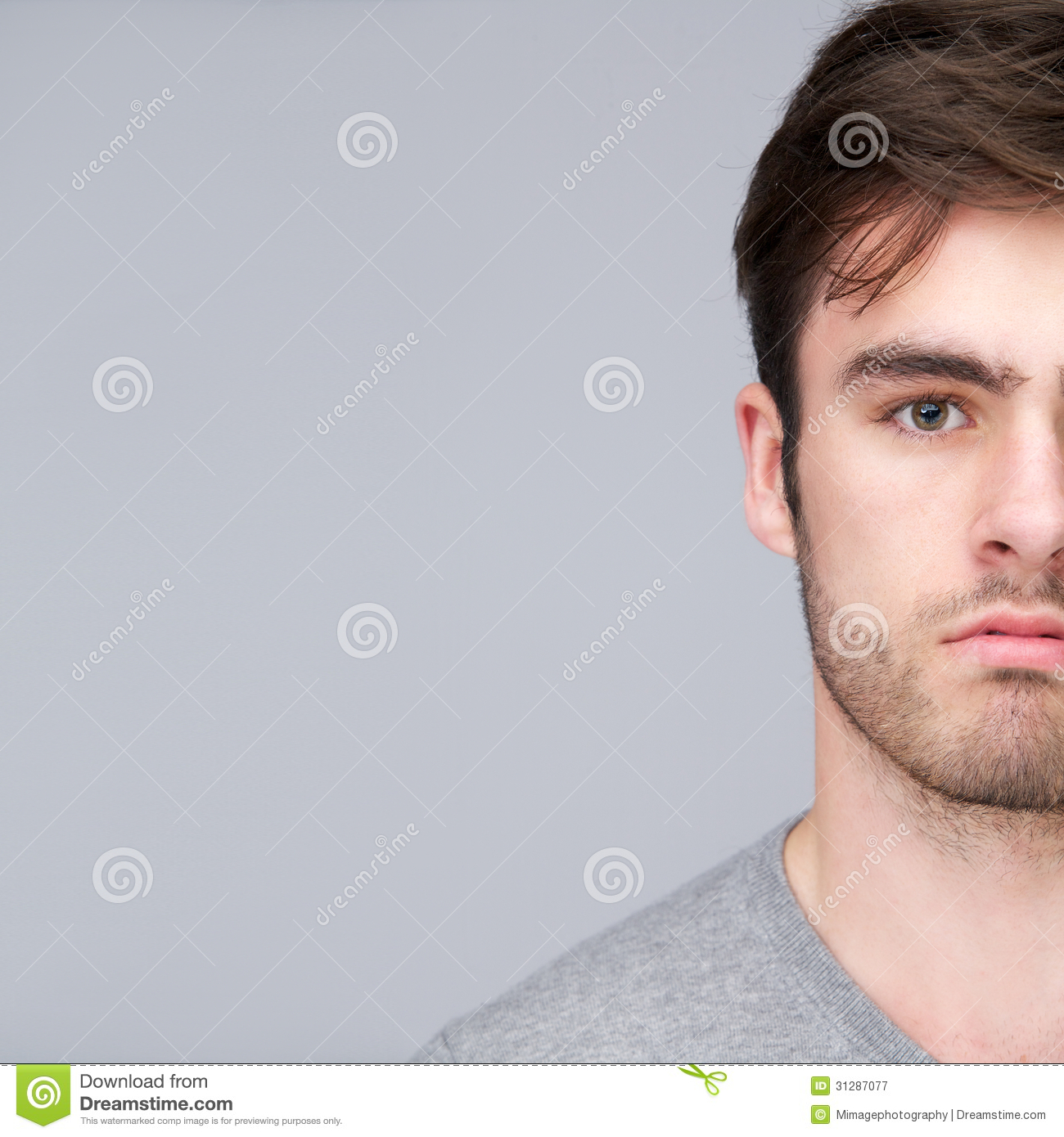 Half Face Portrait Of A Handsome Young Man Royalty Free