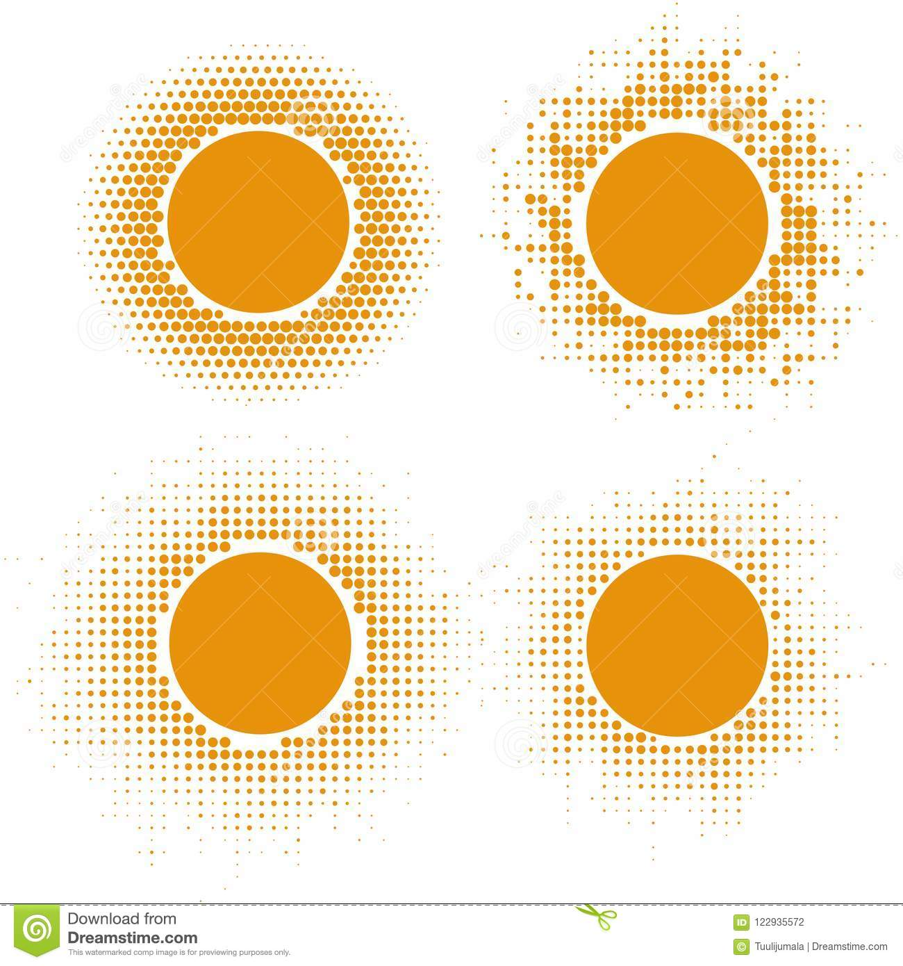 Yellow Halftone Sun Shapes Stock Vector Illustration Of