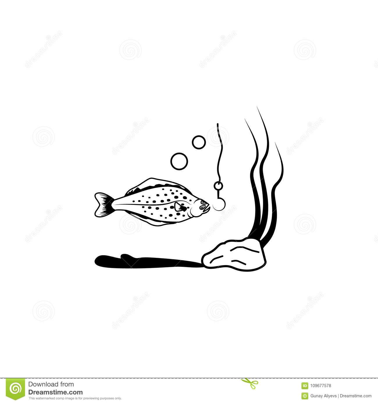 Flounder Fish Icon In Flat Style Vector Illustration