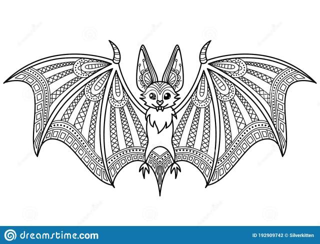 Halloween Bat Doodle Coloring Book Page. Antistress for Adult