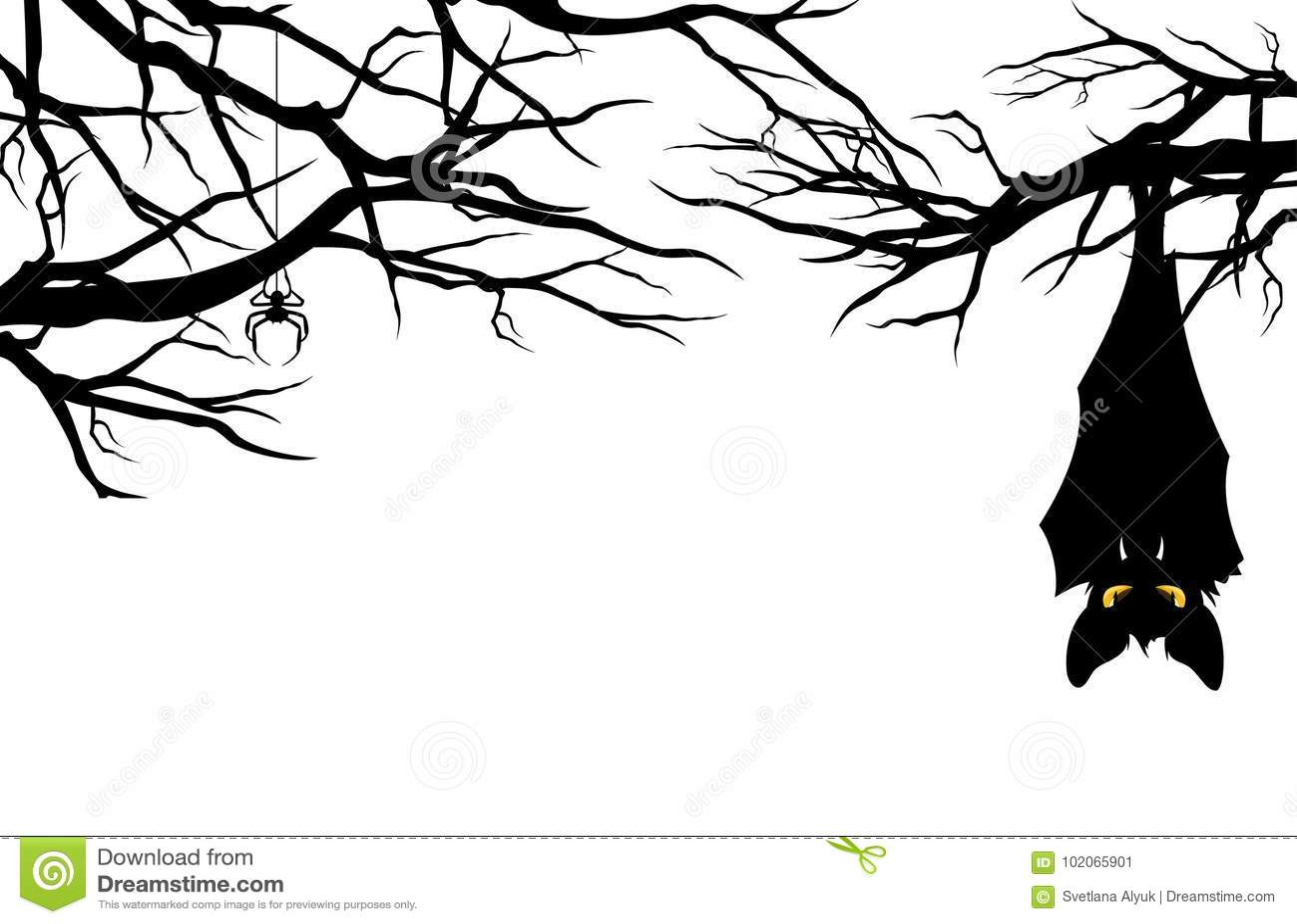 Halloween Bat Hanging Among Tree Branches Vector Stock