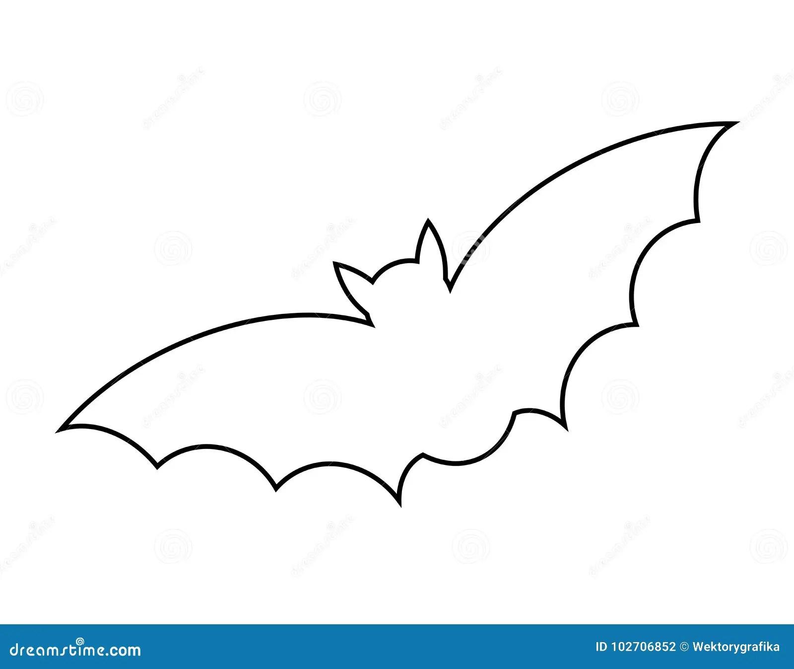 Halloween Bat Outline Vector Design Isolated On White