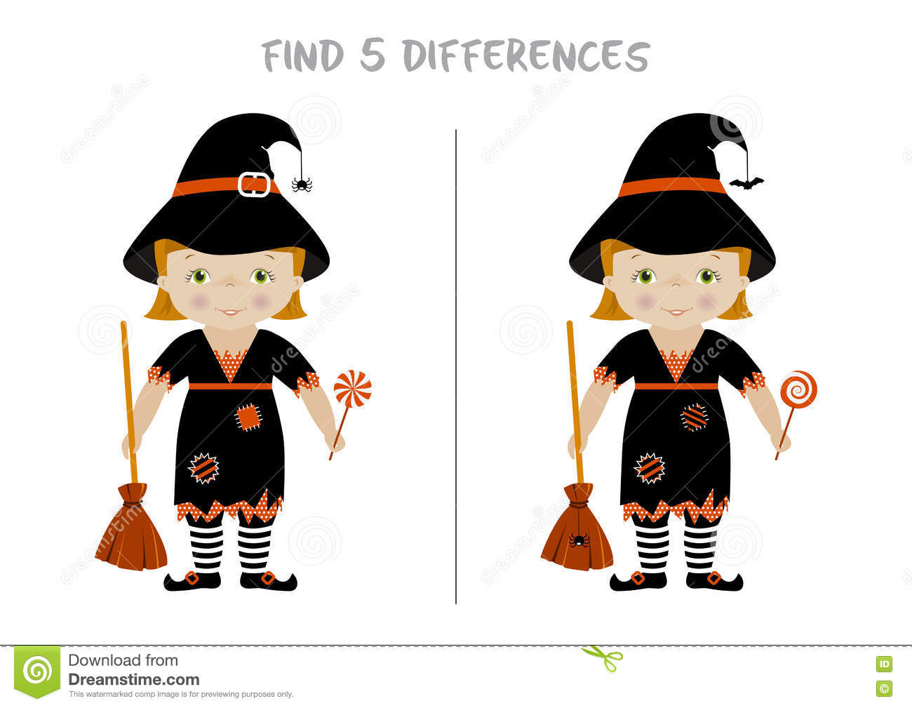 Halloween Spot The Difference Game For Kids Cartoon Vector