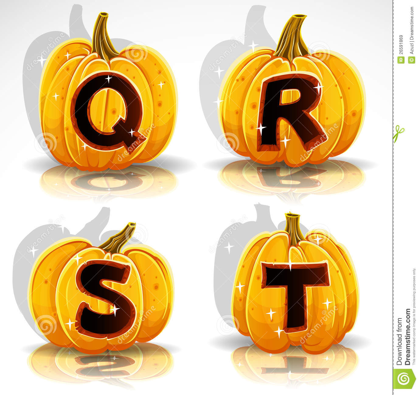 Halloween Font Cut Out Pumpkin Letter Q R S T Royalty Free