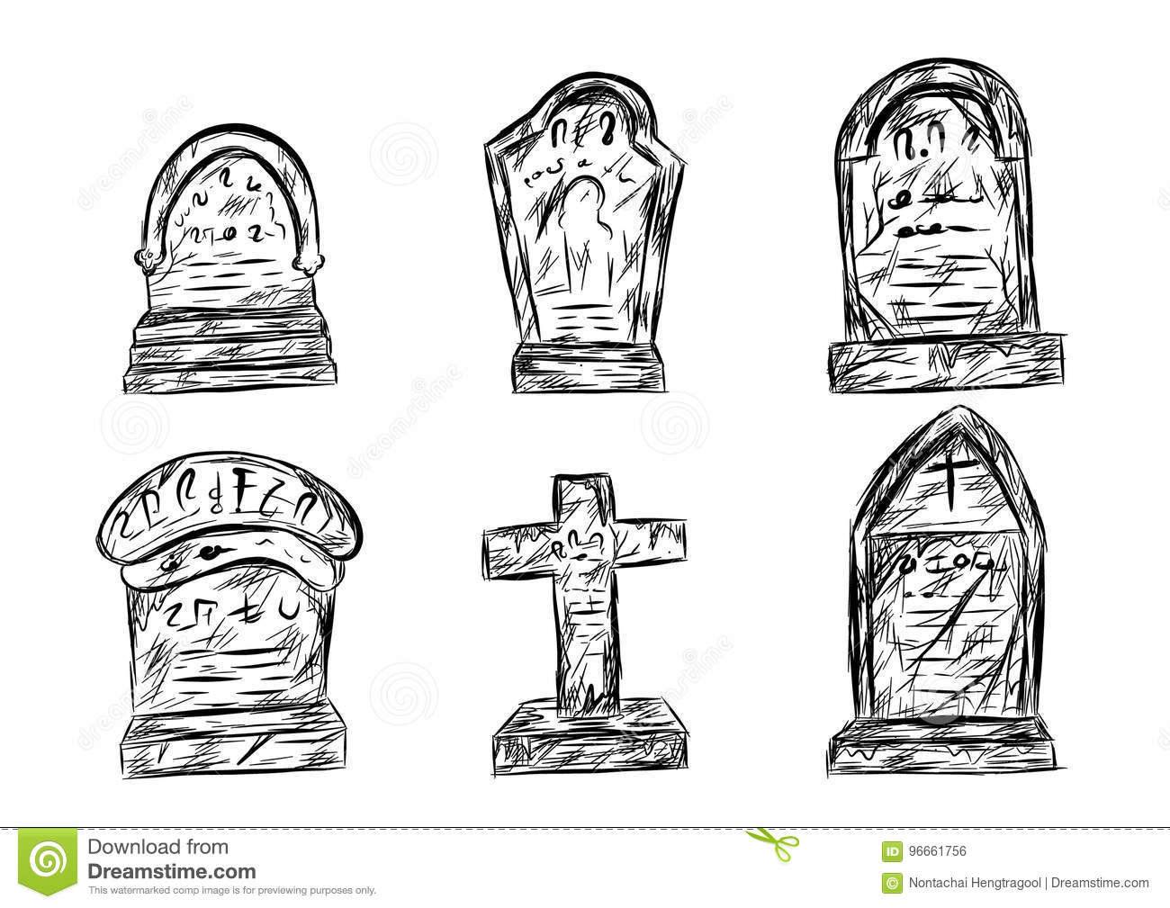 Halloween Graveyard Sketch By Hand Drawing Stock Vector