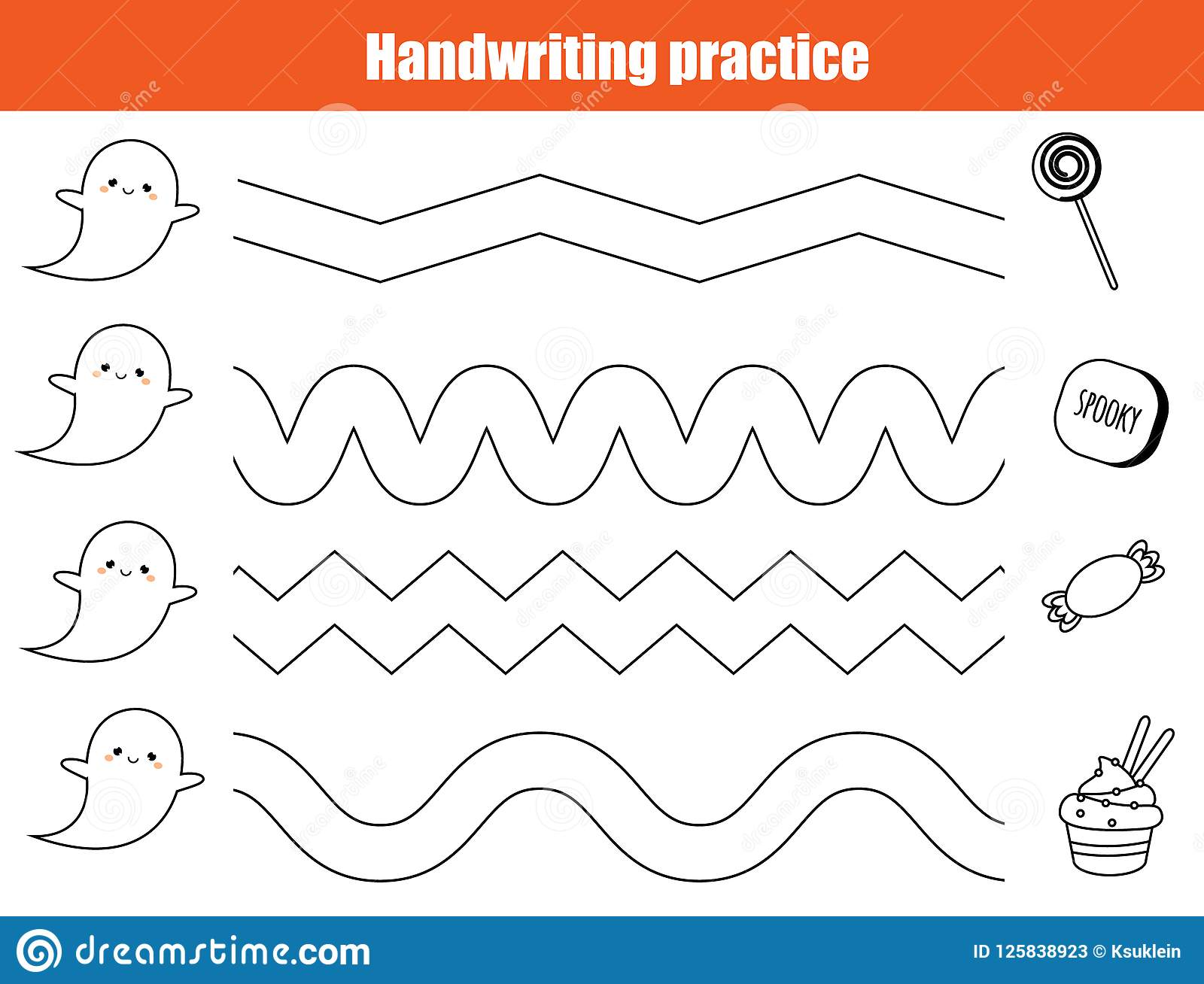 Halloween Handwriting Practice Sheet Educational Children