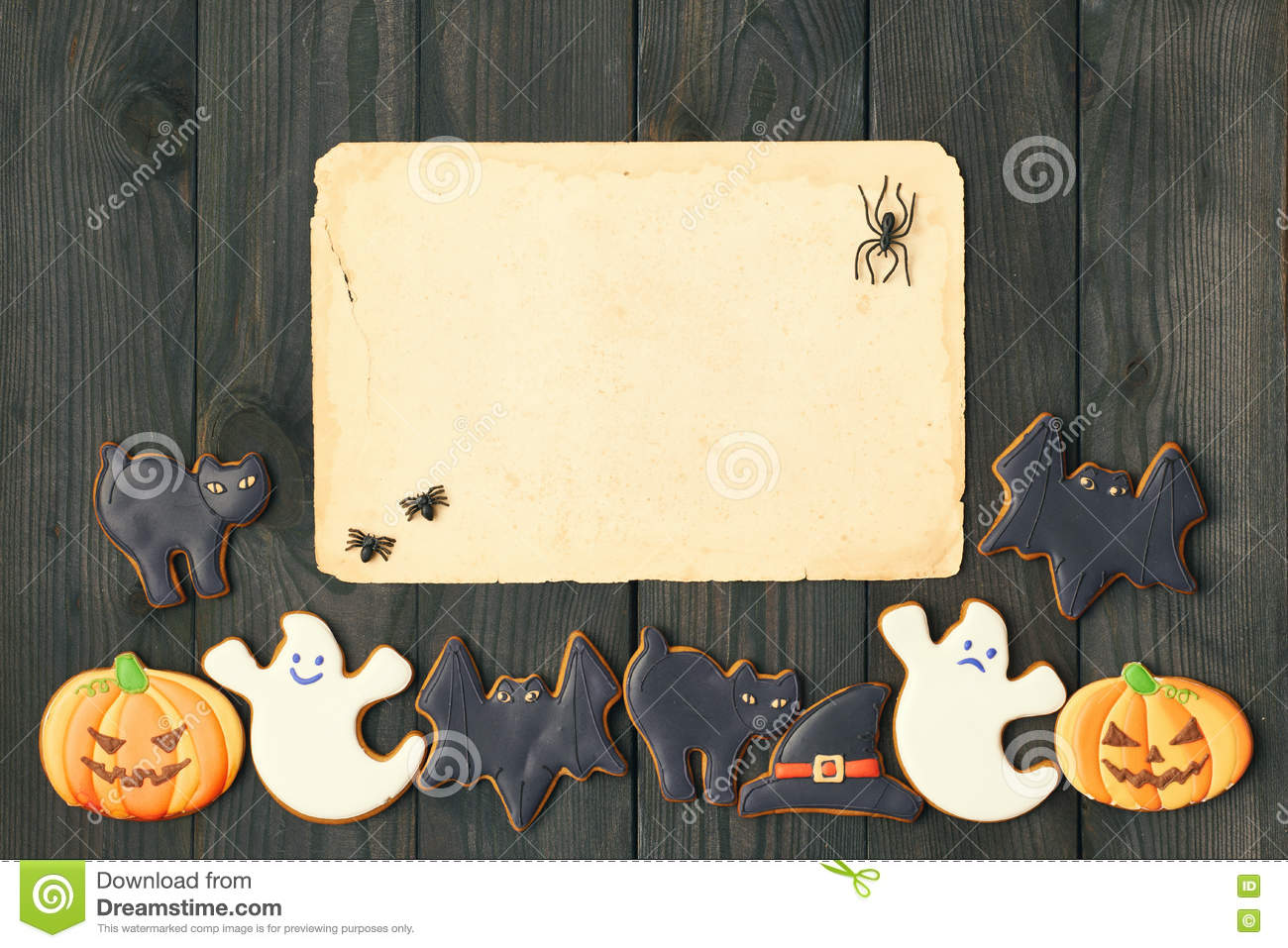 halloween invitation over wooden background stock image image of background party 77391595
