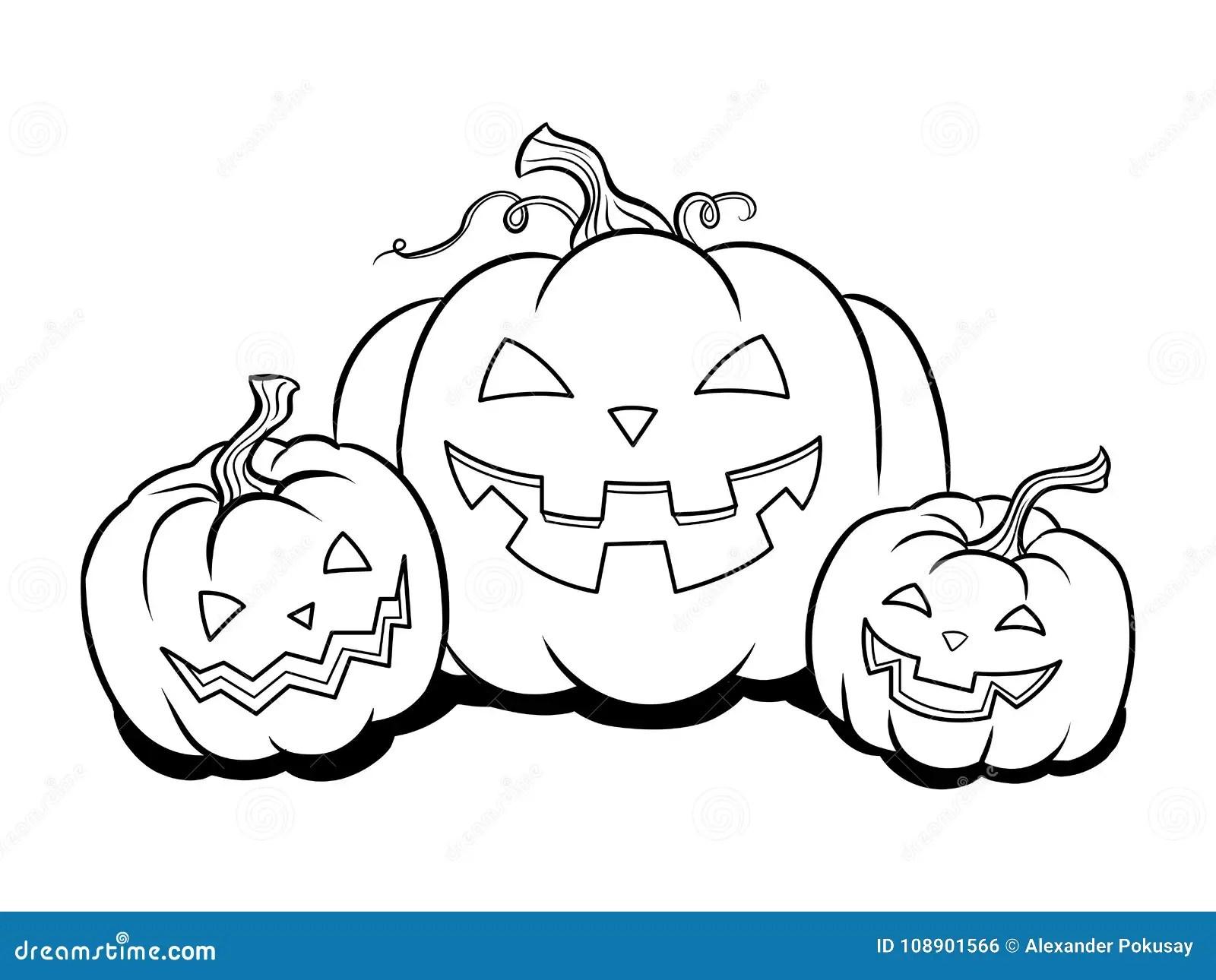 Halloween Pumpkin Coloring Book Vector Stock Vector