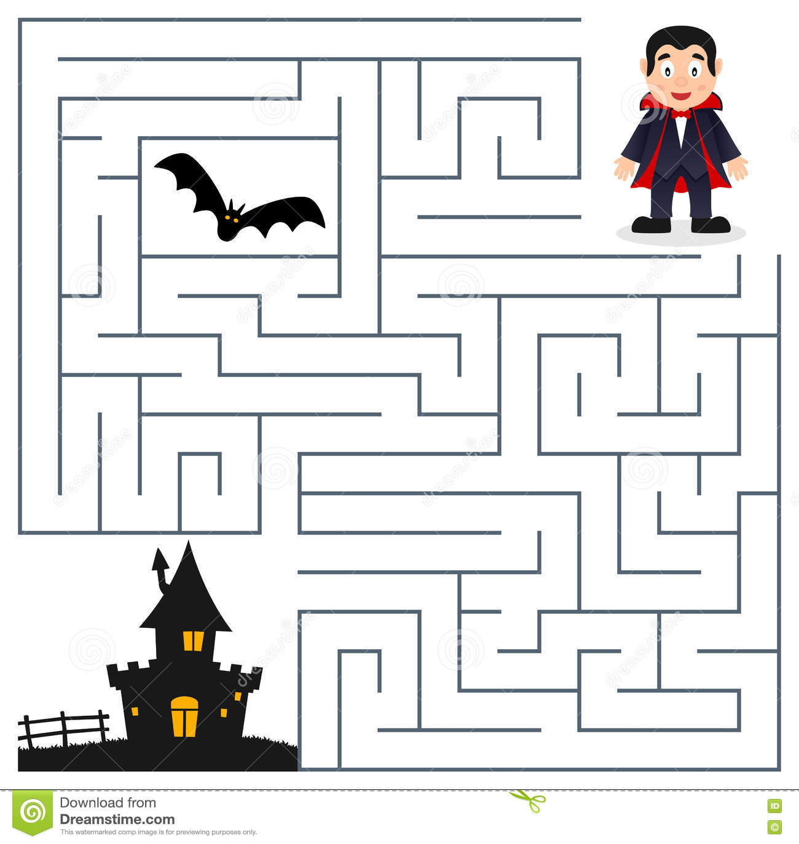 Haunted Houses Mazes For Preschoolers Worksheet