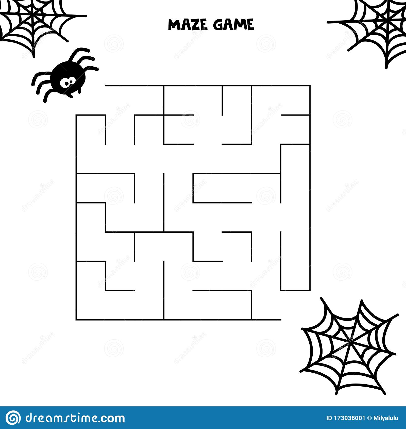 Halloween Maze Game Spider And His Web Worksheet For