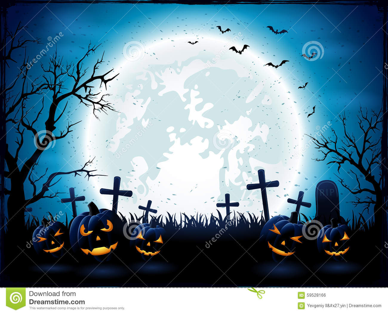 Halloween Night With Blue Moon And Pumpkins Stock Vector