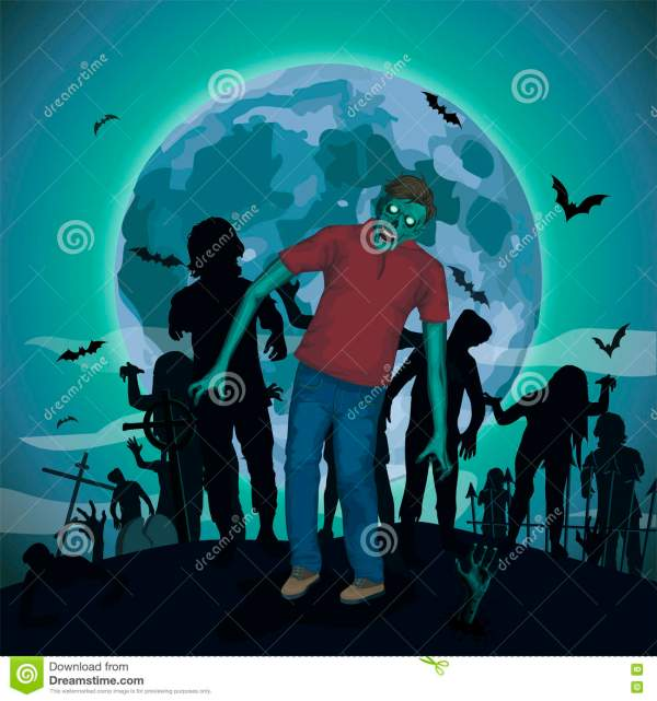 Halloween Night Moon Zombi Zombie Evil Spirits Monster ...