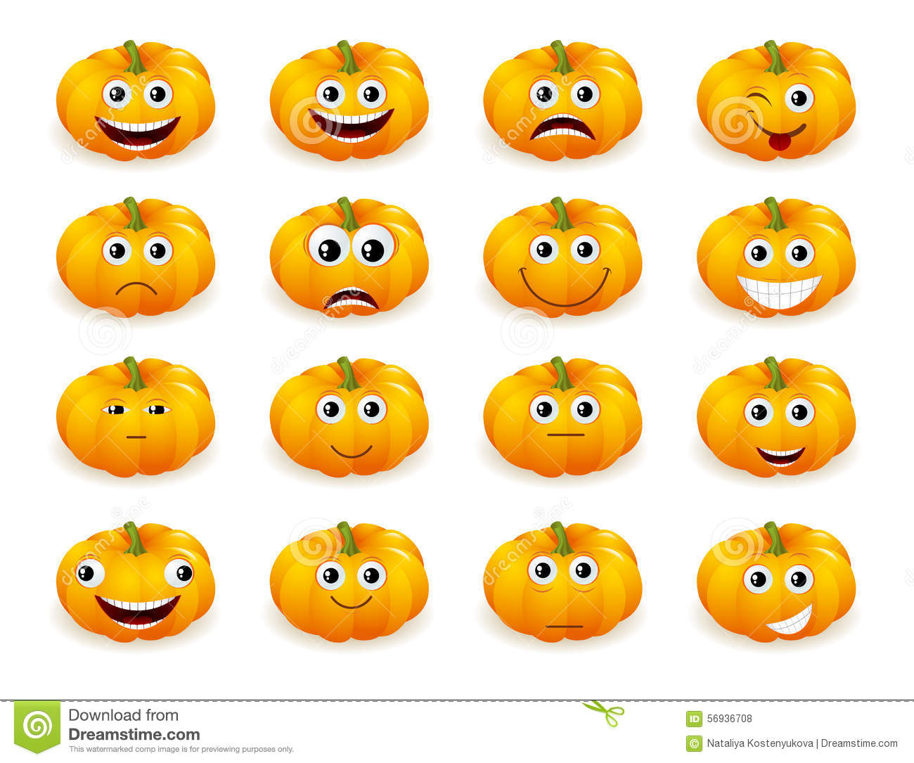 Halloween Pumpkin Faces With Emotions Isolated Stock