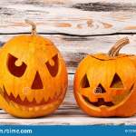 Halloween Scary Pumpkins On Wooden Background Stock Photo Image Of Idea Jack 127610862