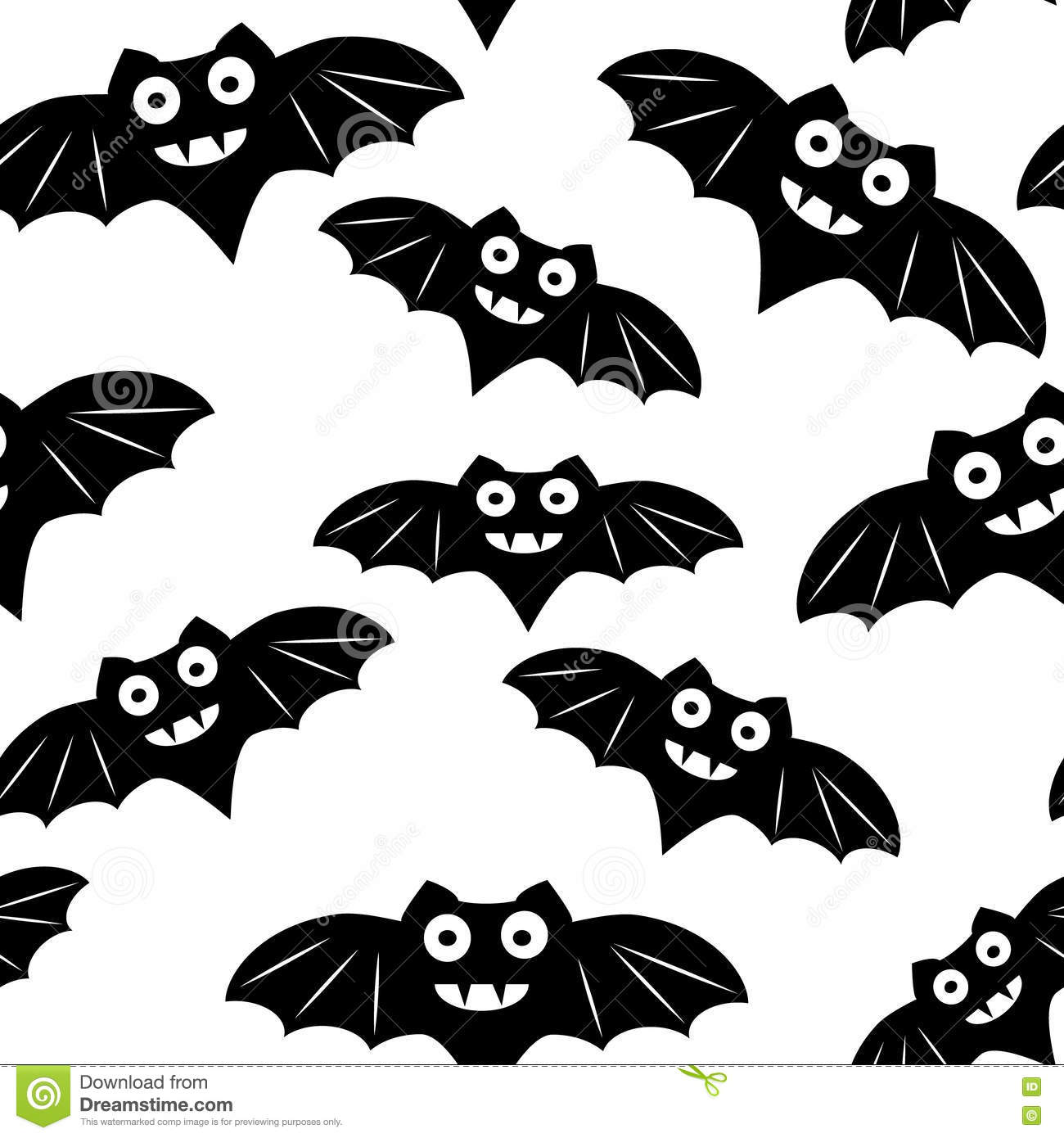 Halloween Seamless Pattern With Black Bat Stock Vector