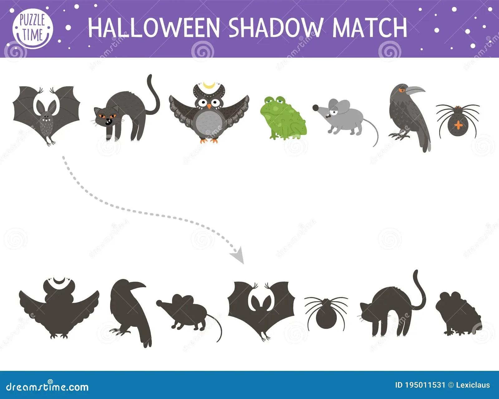 Halloween Shadow Matching Activity For Children Autumn