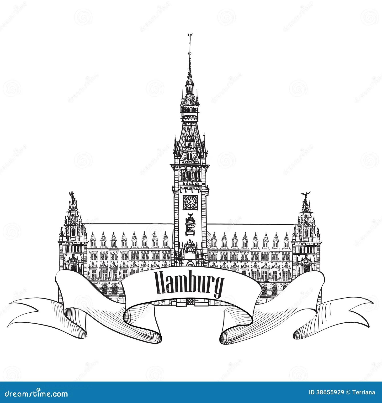 Hamburg Landmark Germany Germany Sketch Symbol Royalty Free Stock Images