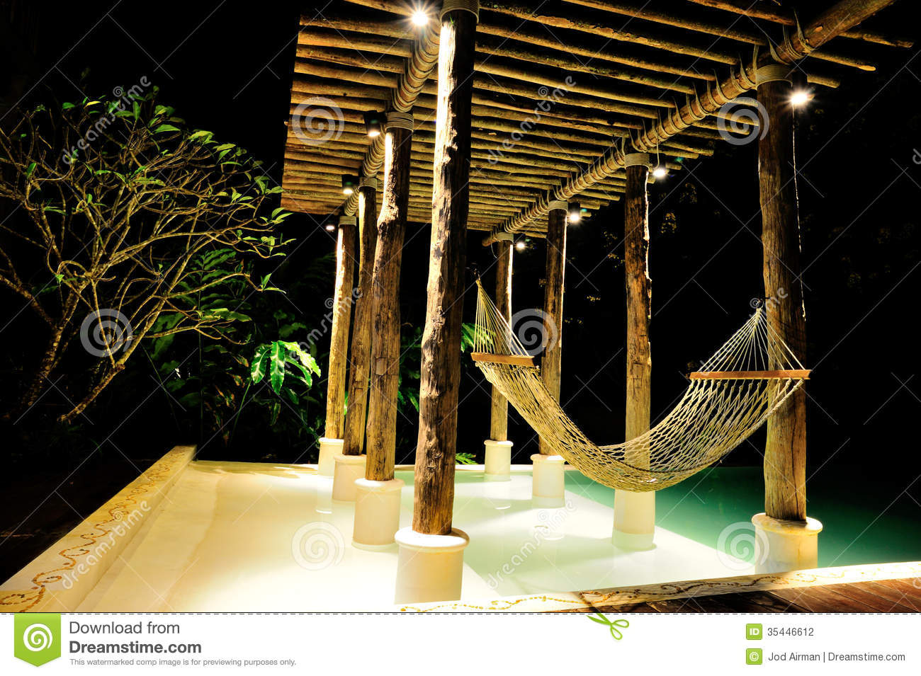 Hammock By The Pool Stock Photo Image Of Forest Modern
